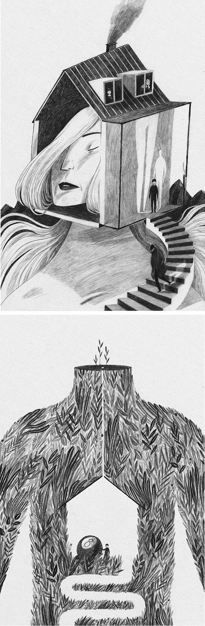 "Illustrator  Anja Sušanj's illustrations from ""City."""