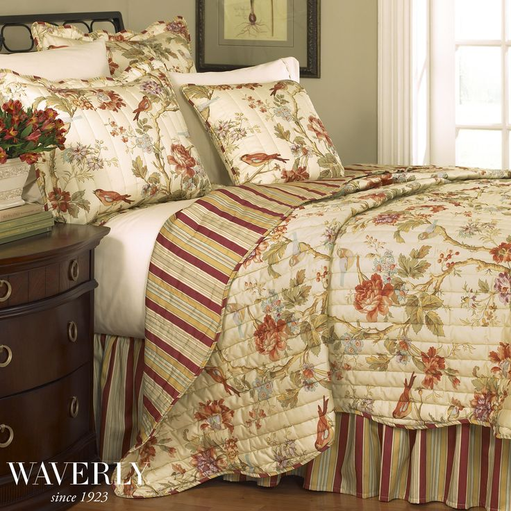 Charleston Chirp Floral Quilt Bedding Set By Waverly  Touch Of Class