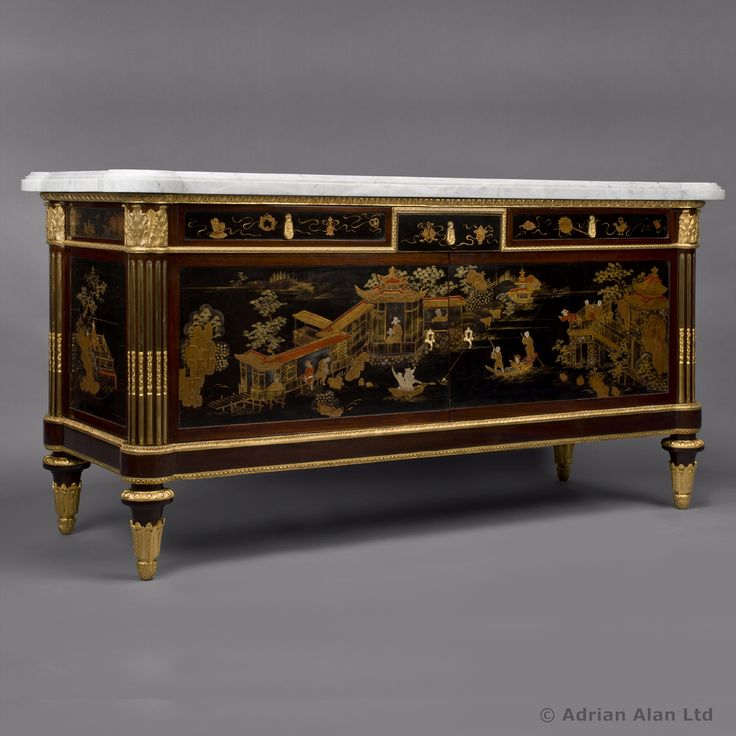 A Fine Louis XVI Style Lacquered Commode, after the model By Joseph Stockel for Marie Antoinette - #adrianalan #furniture #antique