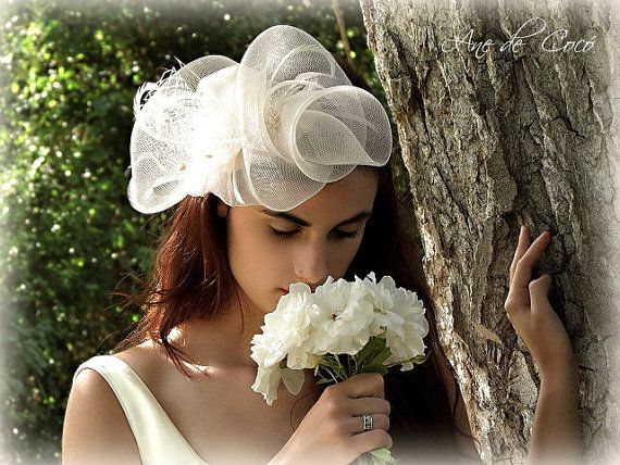 Bridal fascinator - Wedding wear - White fascinator - Gifts for her on Etsy, 140,00 €