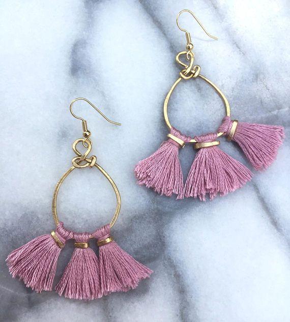 Boho Pink Tassel Earrings Hammered Metal Boho Earrings