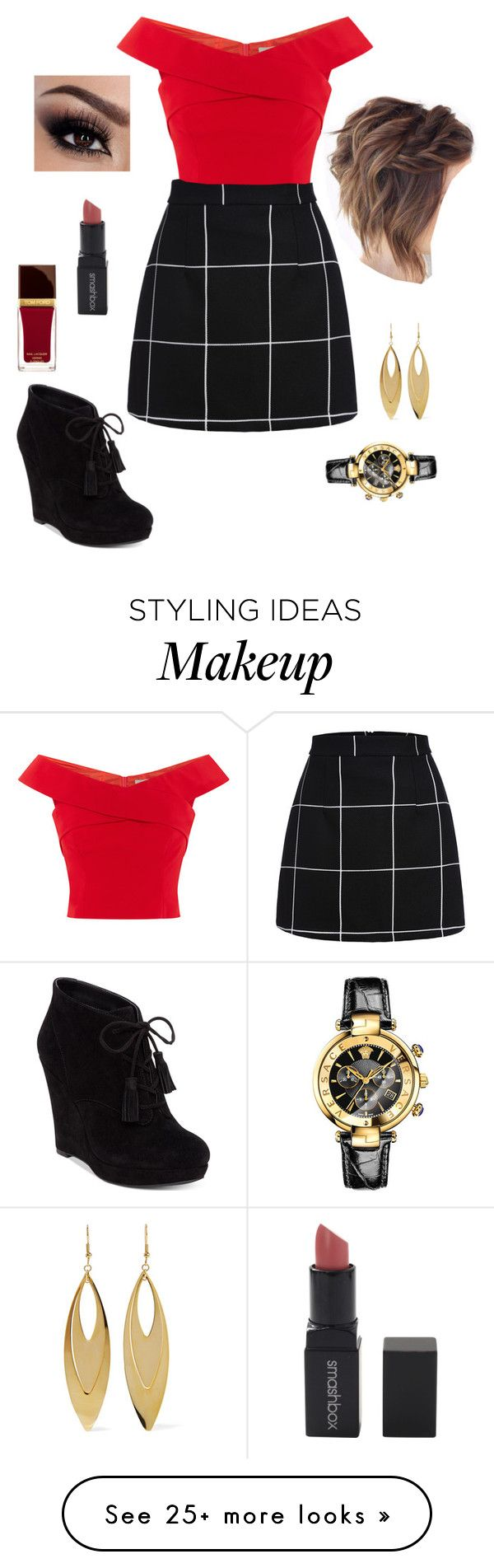 """"""""""" by goddessofbacon on Polyvore featuring Jessica Simpson, Tom Ford, Smashbox, Kenneth Jay Lane and Versace"""