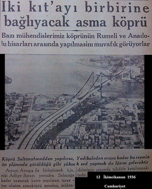 Boğaz Köprüsü ile ilgili en eski haberlerden biri: ''İki Kıt'ayı birbirine bağlıyacak asma bir köprü'' #istanbul #istanlook