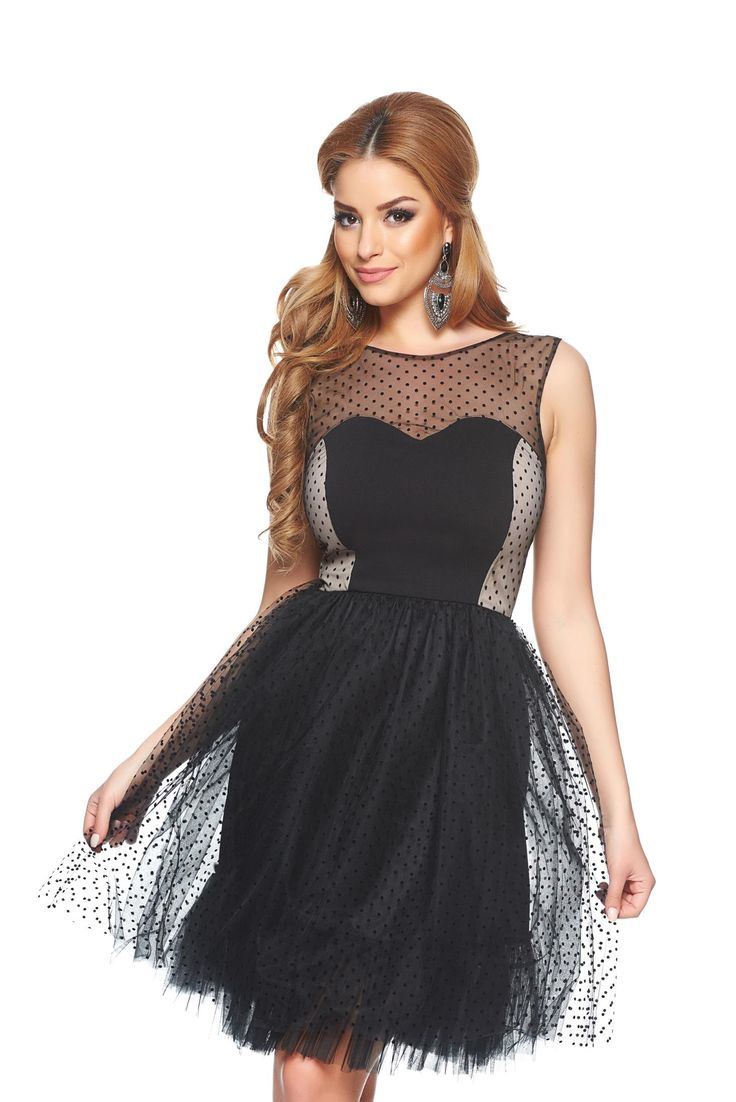 StarShinerS Dots Princess Black Dress, back zipper fastening, inside lining, elastic waist, net