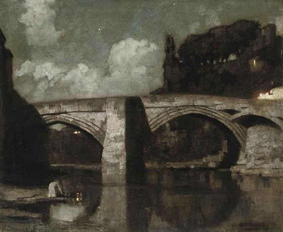 Artwork by Harold Speed, Bridge at night, Made of oil on canvas
