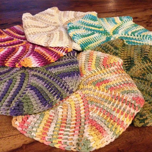 Tunisian Crochet Dishcloth Free Pattern : Ravelry: chitweeds Tunisian Short Row Dishcloth. Easy ...