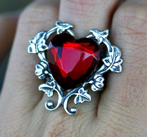 Red Heart Ring  Gothic Victorian Steampunk by robinhoodcouture, $32.00