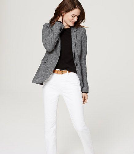 grey blazer, white jeans