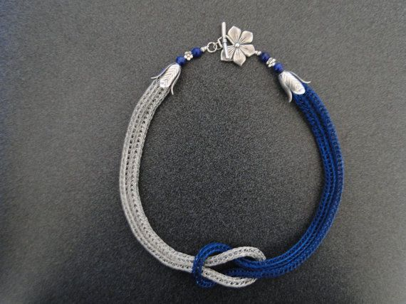 Viking Knit Weave Love Knot Sapphire Blue by BeCharmedWireJewelry, $70.00