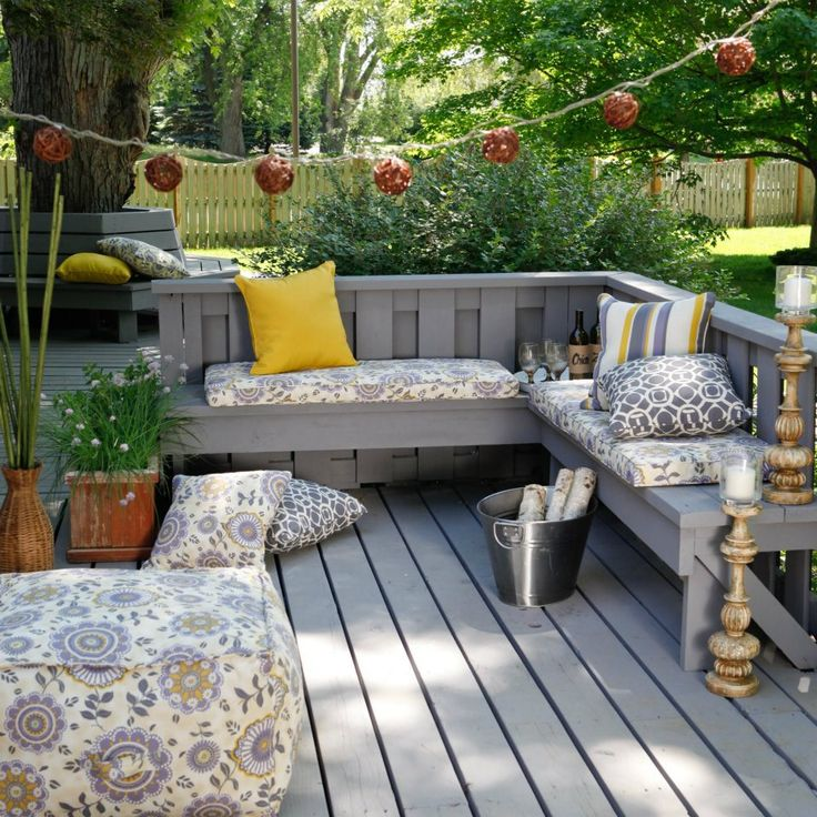 Deck patio decor built in benches house ideas pinterest for Patio deck decorating ideas