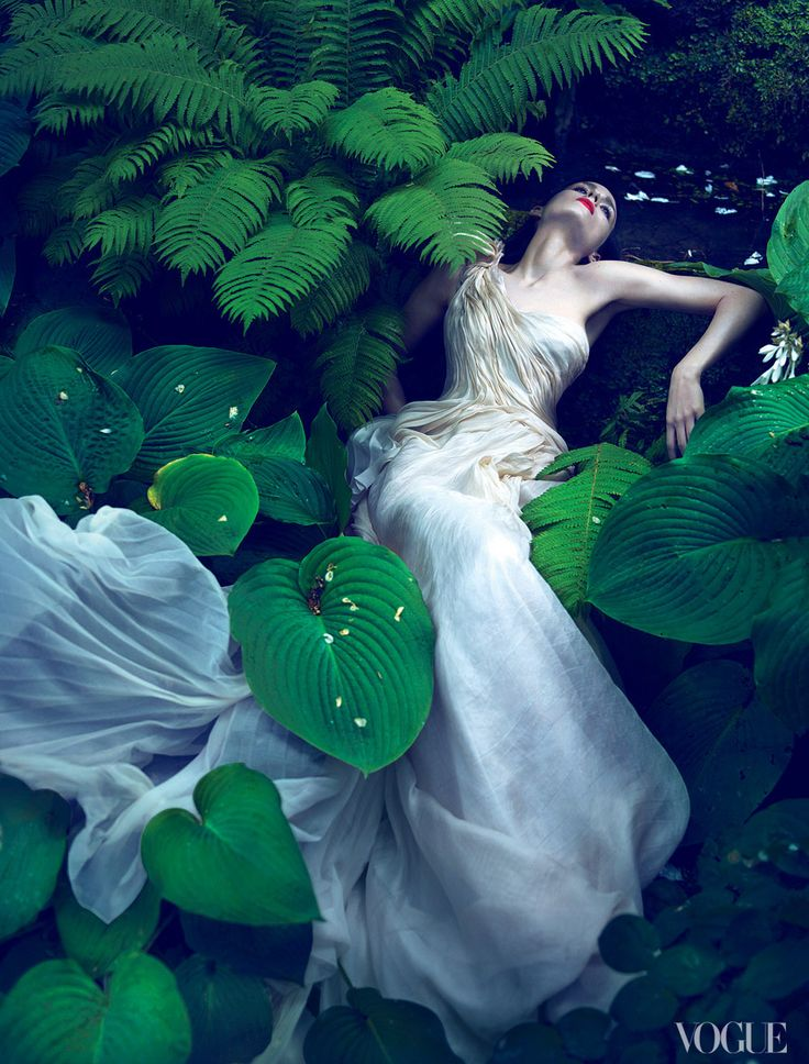 "Rooney Mara swoons like a Pre-Raphaelite heroine, photographed by Mert Alas and Marcus Piggott. ""The process of arriving at a very good fashion photograph,"" says Goodman, ""is, for me, complicated.""  Photographed by Mert Alas and Marcus Piggott, Vogue, 2011 / Courtesy of Abrams"