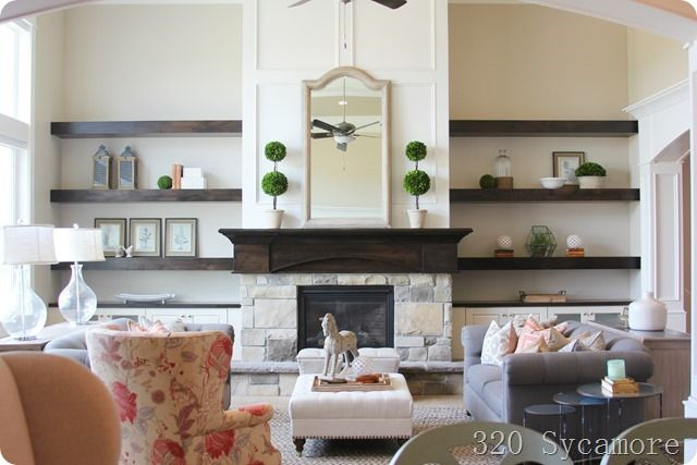 Modern Floating Shelves Decorating Ideas: Modern Floating Shelves And Cabinet Around Fireplace