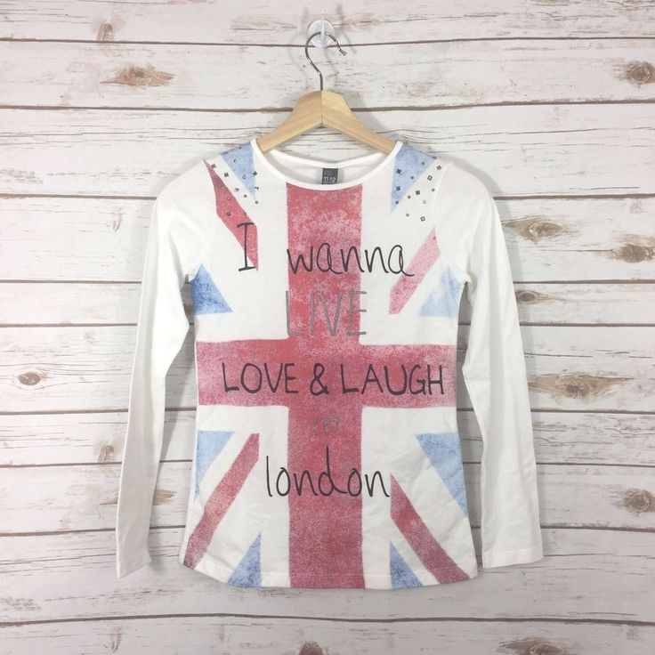 NEW Zara Kids Size 11-12 Years Girls Shirt UK Flag London Long Sleeve Rhinestone #Zara #Everyday