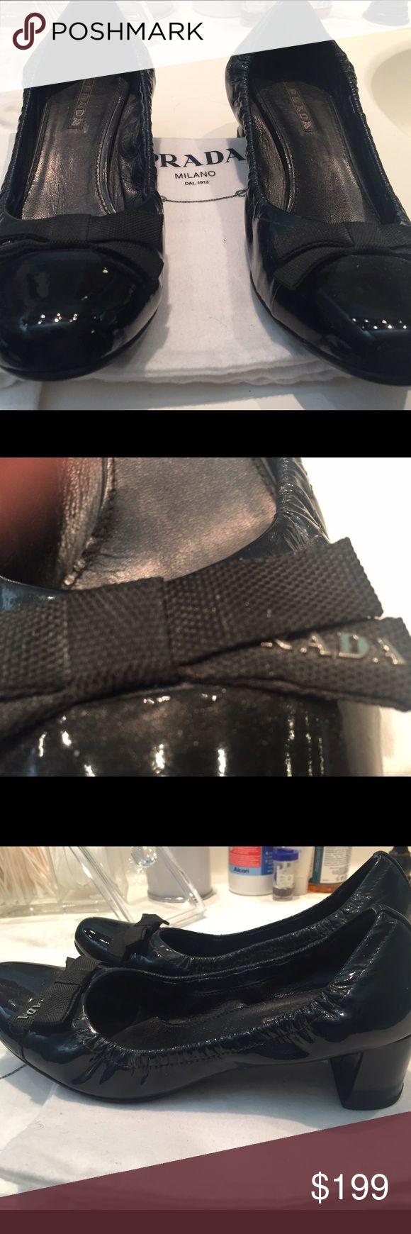 "PRADA Shoes-Dark Ink color (almost black) 1 1/2"" heel -comes with shoe dust covers Prada Shoes Heels"