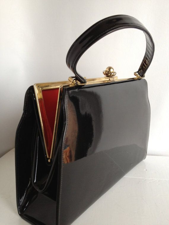 Black Glossy Patent Leather Vintage Handbag by VintageMindedMaven, $56.00 #pinup #vintage #patentleather