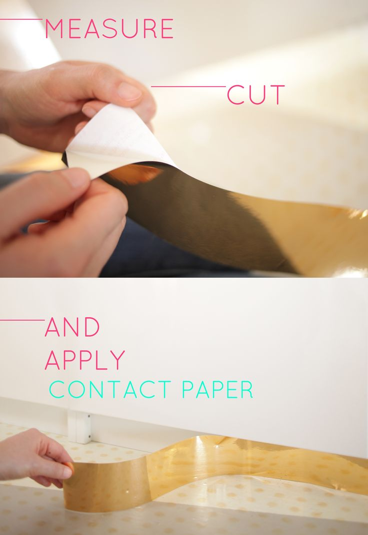 DIY Toe Kick with gold contact paper found @Design Your Wall.com, washi tape, and gaffers tape.