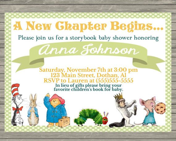 Storybook baby shower invitation  Thank you for shopping with MKellyDesign!  HOW TO ORDER -Purchase invitation - Include your personalized