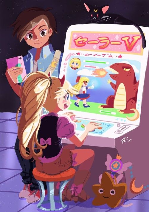 "catseatcakes: "" Svtfoe Whole Some Week 2 DAY 4: GAMES NIGHT Star and Marco go to the arcade to play the new Sailor V fighting game!!!!! I'm a Moonie so I thought it would be cute to draw Star playing the Sailor V game! (and omg can tumblr stop..."