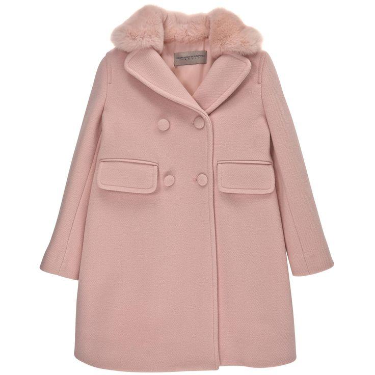Manteau col fourrure synthétique, en drap de laine rose clair