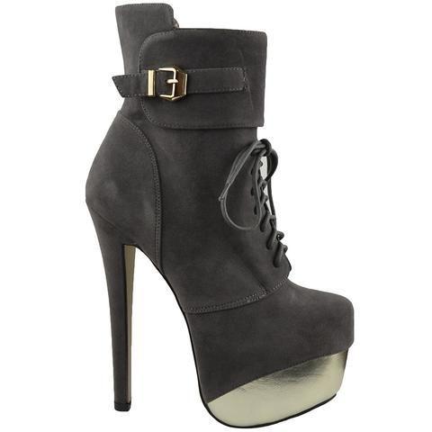 Womens Mid Calf Boots Two Tone Platform Sexy High Heels Gray #SexyHighHeels