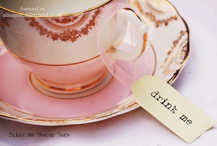 Vintage twee Drink Me Tags 1 Alice In Weddingland Photo Shoot Sponsor: Vintage Twee Wedding Blog