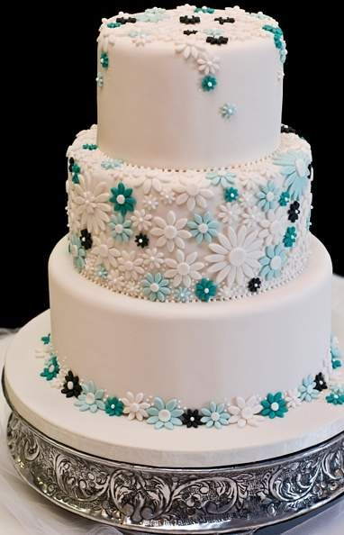 Wedding Cake White Icing with Blue, Teal and Black Flowers