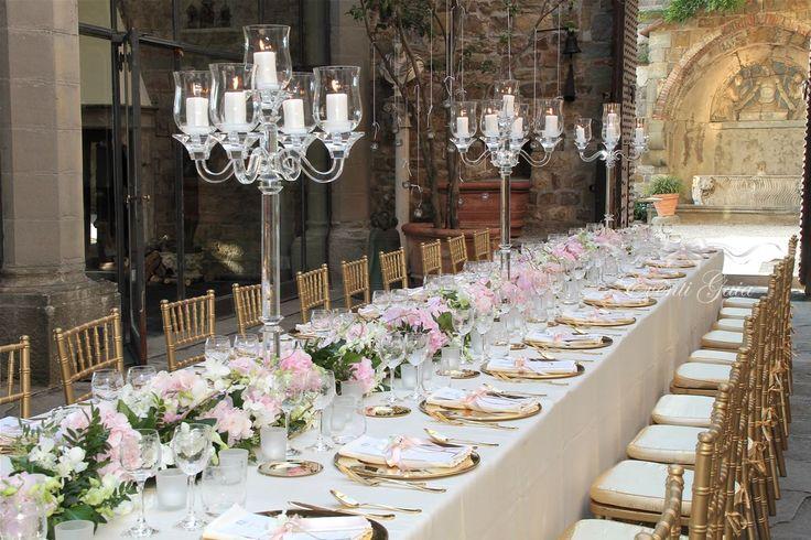 flowers and candelabras centerpiece Wedding set-up AAWedding #weddingitaly #weddingplanner #weddingplanneritaly #luxurywedding #tuscanwedding #weddings #pink #flowers #arabicwedding #candelabra #setup #tablesetup