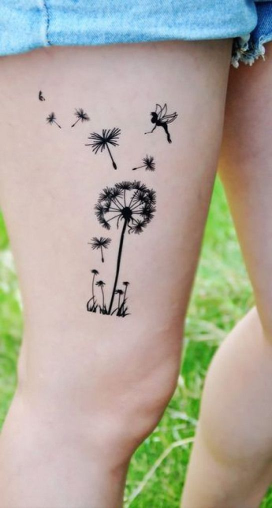 Small Unique Blowing Dandelion with Birds Shoulder Tattoo Ideas – Black & White …