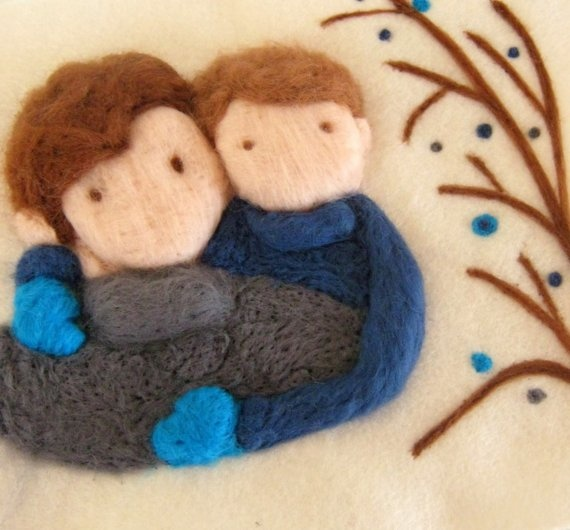 Father and Son  Wool needle felted tapestry Made to by woolicious, $46.00