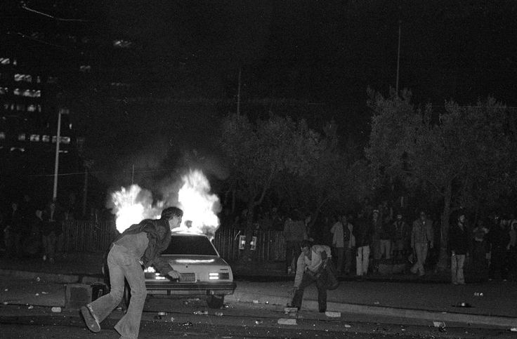 A San Francisco police car goes up in flames during a riot which broke out following the controversial sentencing of Dan White who was found guilty of manslaughter for the assassination of San Francisco Mayor George Moscone and City Supervisor Harvey Milk. San Francisco, May. 21, 1979. (AP Photo)