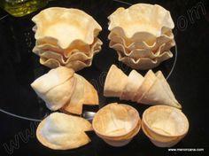 Tartaletas y cucuruchos con obleas de empanadillas