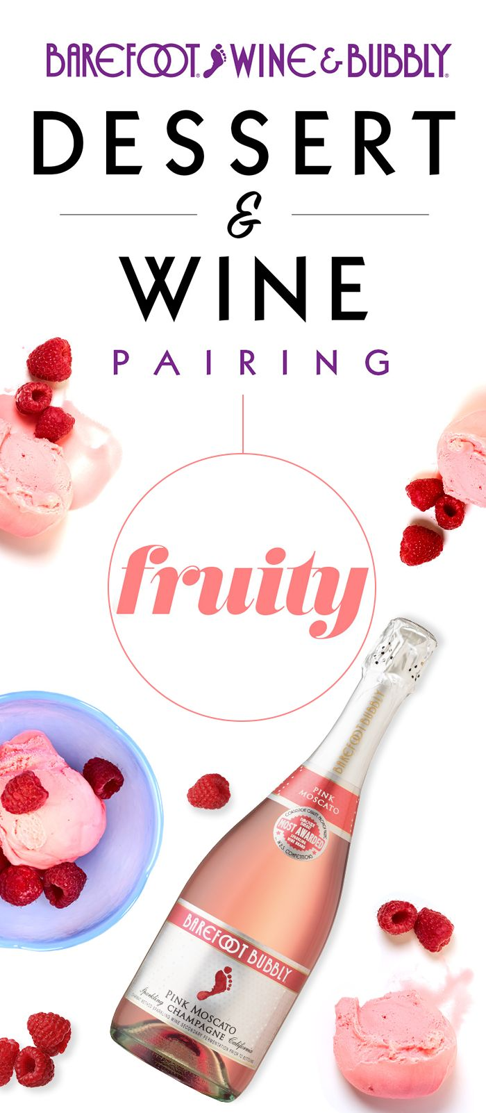 Pair your delicious and fruity strawberry ice cream with Barefoot Bubbly Pink Moscato for a refreshing dessert combo.