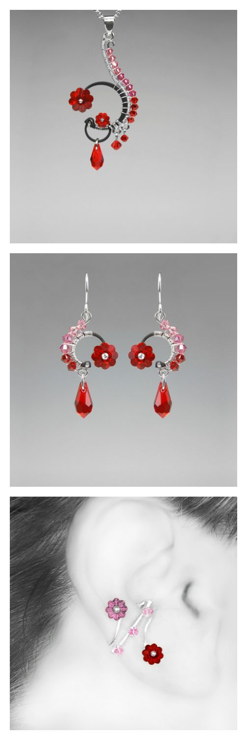 Bellatrix: Lovely pink and red Swarovski crystal industrial jewelry...
