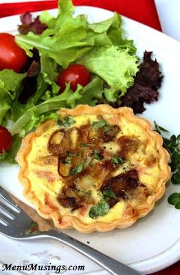 Ham, Caramelized Onion and Gruyere Quiche - a high protein meal that is so light and delicious.  These are a snap to make!  Step-by-step photo tutorial included.