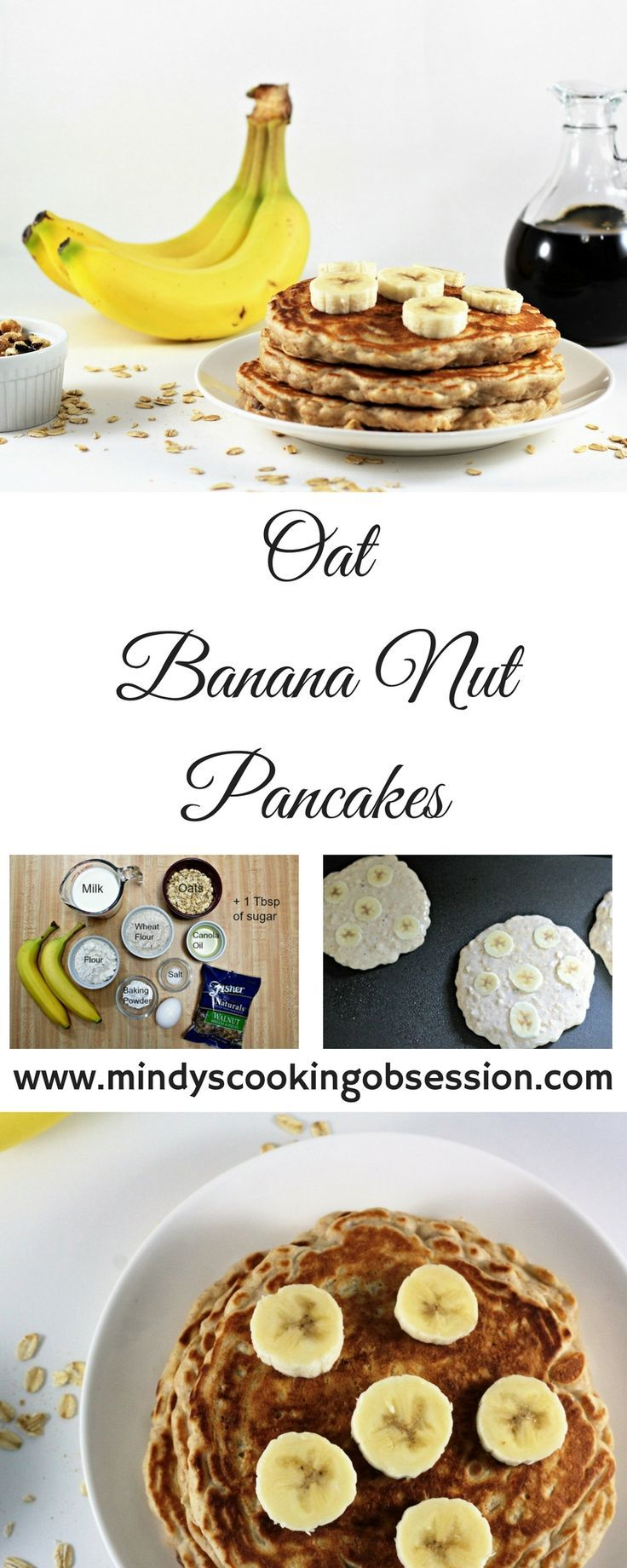 Oat Banana Nut Pancakes adds oats, wheat flour, bananas and walnuts to traditional pancake batter to make a heartier and healthier version of pancakes.