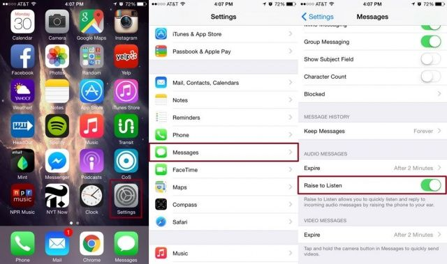 Raise phone to listen setting