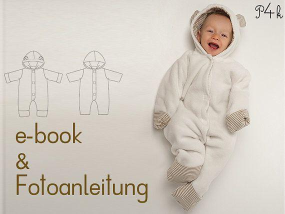 Kuscheliger Overall / Strampler / Anzug für Baby    Variante A:  mit Ohren an der Kapuze und mit praktischen Arm- und Beinumschlägen    Variante B: