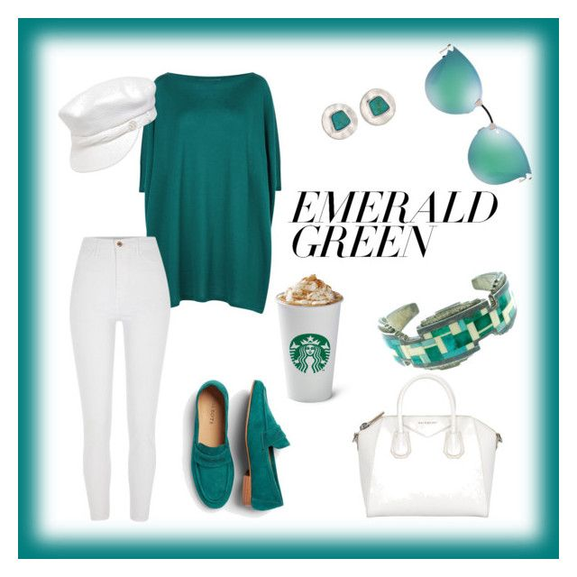 """Emerald coffee morning"" by alexiss-yvore on Polyvore featuring Talbots, Lamberto Losani, River Island, Maison Michel, The Sak, Fendi and emeraldgreen"