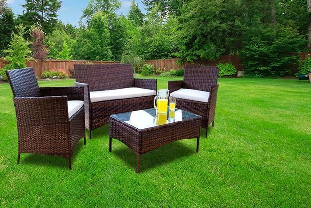£109 (from Dining Tables) for a four-piece brown or black rattan garden furniture set, with a limited number available for £99 - save up to 83%