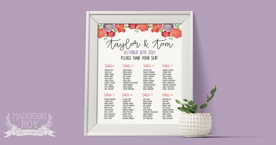 Personalised Floral Watercolour ~ Wedding Seating Plan Chart ~ DIY Template Printable ~ Custom sizing
