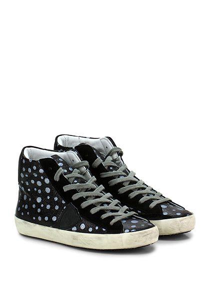 PHILIPPE MODEL PARIS - Sneakers - Donna - Sneaker in pelle effetto crack e camoscio con logo su lato esterno e suola in gomma effetto vintage. Tacco 25. - BLACK\SILVER - € 260.00