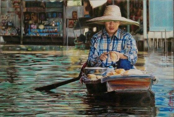 """Ricordi thailansesi"", COLOUR PENCILS ON PAPER, 27x18 cm. www.facebook.com/limaelabor  #draw #drawing #art #artist #colourpencils #thailand #carandache"