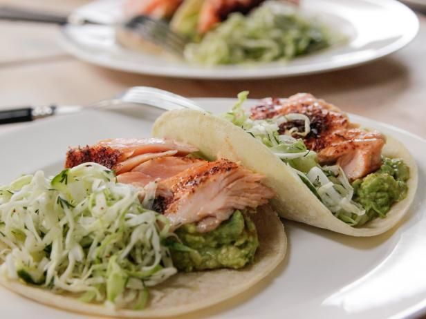 Roasted Salmon Tacos Recipe -- This salmon looked absolutely delicious on the show yesterday!  You could do this w/ other sides, if you don't want to make tacos.  Hadn't thought about salmon tacos before, but this is a tasty idea.