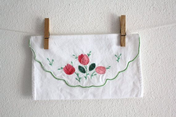 Vintage Cotton Cutlery Holders Pink Flowers by CakeNumber9 on Etsy, $11.50