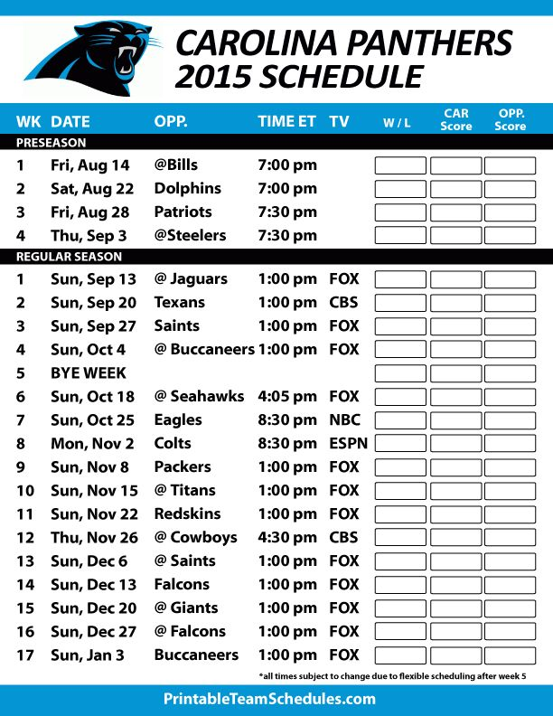Carolina Panthers 2015 Schedule. Printable version here: http://printableteamschedules.com/NFL/carolinapanthersschedule.php
