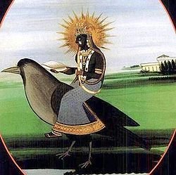 Dhumavati - the widow goddess. One of the Mahavidyas, Dhumavati is the manifestation of everything deemed inauspicious in traditional Hinduism, forcing her devotees to look beyond the superficial. This is an early 20th century Rajput painting depicting the goddess riding a crow.