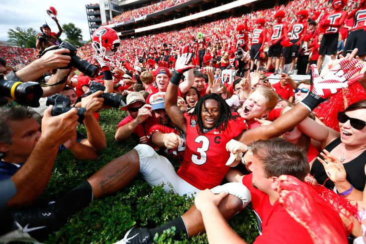 Todd Gurley celebrating with the fans after the Tennessee game