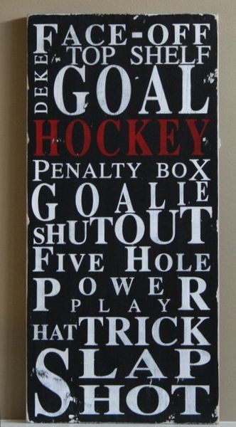must have for the hockey room.  Oh, there will be a hockey room. Well, hockey boys bed room