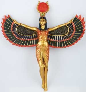 """☆  Open Winged Isis Wall Hanging » The Revered Mother of Horus and the Wife and Sister of Osiris, Isis is widely revered as one of the most beloved and worshipped Goddesses throughout history and one of the greatest sorceresses of all time. Associated with the divine powers of motherhood, marital devotion, and healing. Adorning her head are the horns and disc, the hieroglyphic sign for """"throne,"""" which marks her station and is a symbol of her power and authority. .:¦:. Shop: The Spirit Within…"""