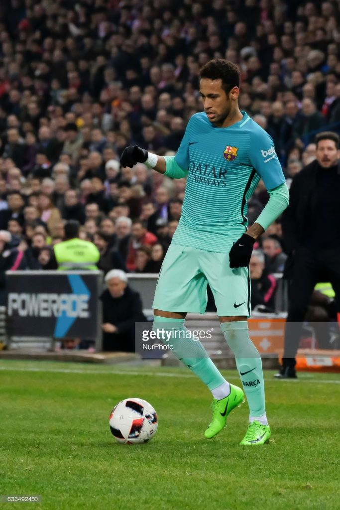 Neymar of FC Barcelona during Copa Del Rey Semi-final first Leg match between Atletico Madrid v FC Barcelona at Vicente Calderon on February 01, 2017 in Madrid, Spain.